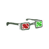 Retro cartoon 3D glasses Royalty Free Stock Images