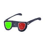 Retro cartoon 3D glasses Stock Images