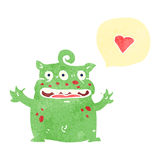 Retro cartoon alien with love heart Stock Photos