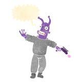 Retro cartoon alien man Stock Photos