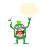 Retro cartoon alien monster with thought bubble Royalty Free Stock Photography