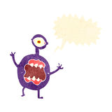 Retro cartoon alien space monster Stock Images