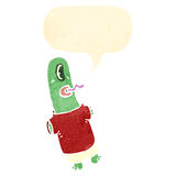 Retro cartoon alien space monster with speech bubble Royalty Free Stock Photo