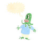 Retro cartoon alien space monster with speech bubble Royalty Free Stock Images