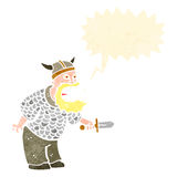 Retro cartoon angry viking Stock Photo