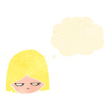 Retro cartoon annoyed blond girl Royalty Free Stock Image