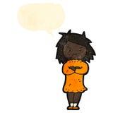Retro cartoon annoyed woman with speech bubble Stock Photo