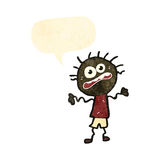 Retro cartoon anxious boy with speech bubble Stock Images