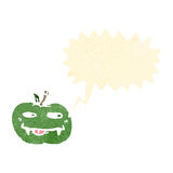 Retro cartoon apple with fangs Stock Images