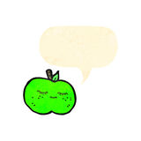 Retro cartoon apple with speech bubble Stock Photo
