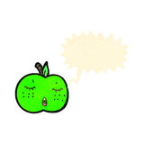 Retro cartoon apple with speech bubble Stock Images