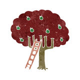 Retro cartoon apple tree Royalty Free Stock Photos