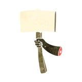 retro cartoon arm holding placard Royalty Free Stock Photo