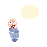 Retro cartoon baby with thought bubble Royalty Free Stock Photography
