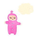retro cartoon baby with thought bubble Stock Photos