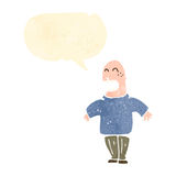 Retro cartoon bald man shrugging shoulders Royalty Free Stock Photo