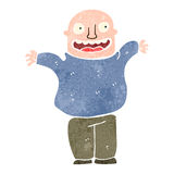 Retro cartoon bald man shrugging shoulders Stock Photos