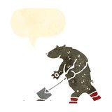 Retro cartoon bear digging with spade Royalty Free Stock Photo