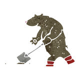 Retro cartoon bear digging with spade Stock Photo