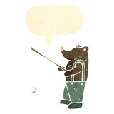Retro cartoon bear fishing Royalty Free Stock Photography