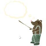 retro cartoon bear fishing Stock Image