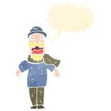 Retro cartoon bearded man shouting. Retro cartoon with texture. Isolated on White Royalty Free Stock Photos