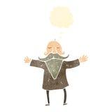 Retro cartoon bearded man with thougth bubble Stock Photos