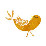 Retro cartoon bird pecking seed Royalty Free Stock Image