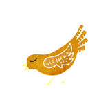 Retro cartoon bird pecking seed Royalty Free Stock Photography