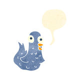 Retro cartoon bird with speech bubble Stock Images