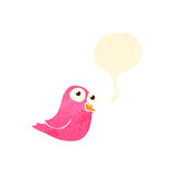 Retro cartoon bird tweeting Stock Photography