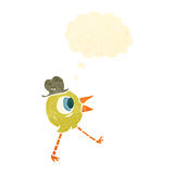 retro cartoon bird wearing hat Royalty Free Stock Images