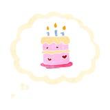 Retro cartoon birthday cake symbol Stock Image