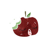 Retro cartoon bitten apple Stock Images