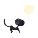 Retro cartoon black cat with speech bubble Stock Image