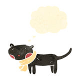 Retro cartoon black cat with thought bubble Stock Image