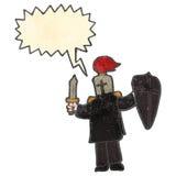 Retro cartoon black knight shouting. Retro cartoon with texture. Isolated on White Royalty Free Stock Photo