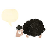 retro cartoon black sheep with speech bubble Royalty Free Stock Photos