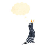 Retro cartoon blackbird with thought bubble Royalty Free Stock Photography