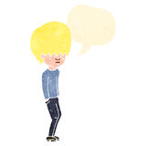 Retro cartoon blond boy speaking Royalty Free Stock Photos