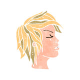 Retro cartoon blond face from side Stock Photo