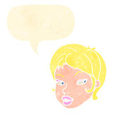 Retro cartoon blond female face with speech bubble Stock Photography