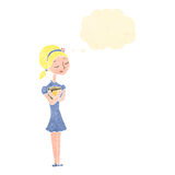 Retro cartoon blond girl with books Royalty Free Stock Photography