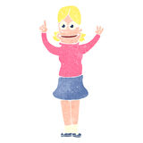 Retro cartoon blond girl with great idea Royalty Free Stock Photo