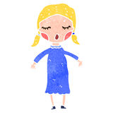 Retro cartoon blond girl Stock Photos