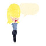 Retro cartoon blond girl talking Royalty Free Stock Image