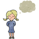 Retro cartoon blond girl with thought bubble Royalty Free Stock Photos