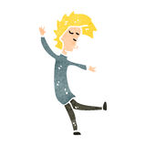 Retro cartoon blond man dancing Stock Image