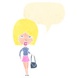 Retro cartoon blond woman with idea Stock Photos