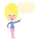 Retro cartoon blond woman with idea Royalty Free Stock Photography
